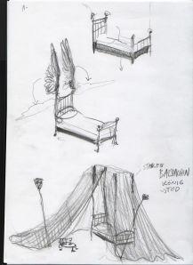 TRaum Skizze Bett